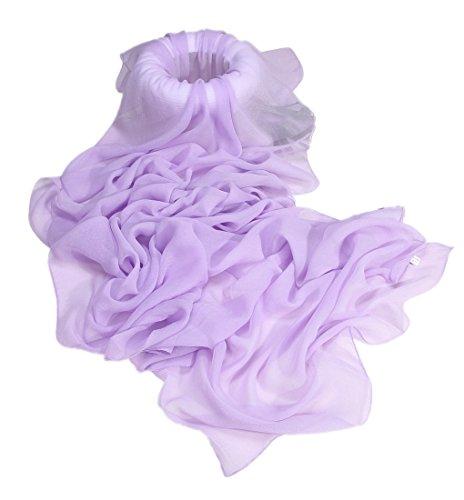Prettystern sciarpa di seta lunga da donna stola filo di metallo argentato iridescente tinta unita viola rosa