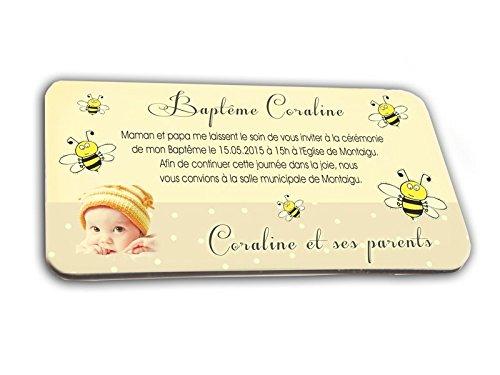 CARTE D'INVITATION en chocolat thème ABEILLE personnalisée avec votre photo et votre texte - pour baptême mariage communion - invitation en chocolat design et moderne noir et jaune