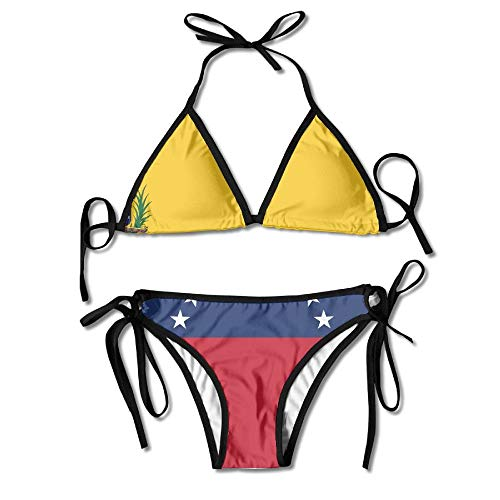 ac9ba484968 Flag of Venezuela Women's Tie Side Bottom Bikini Suits Two Pieces Swimwear