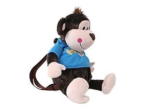 TE-Trend 18116-Mochila de Peluche Mono Monkey con Camiseta 45cm, Marrón/Azul