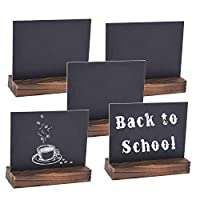 Autoark 5 x 6 inch Mini Tabletop Chalkboard Signs with Removable Wood Base Stands,Rustic&Vintage Style,5 Pack,AOF-003