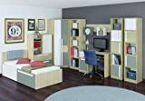 Jugendzimmer Komplett - Set C Greeley, 16-teilig, Farbe: Buche/Weiß/Platingrau