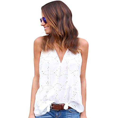 Weiße Bestickte Tunika (LILICAT Frauen Chic Slip Top V Neck Solides T-Shirt Damen Ärmellos Hemd Elegant Oberteile Lässige Bluse Pullover (M, Weiß))