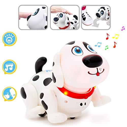 deAO Elektronischer intelligenter Hund mit Funktionen zur Vermeidung von Berührungen, Verfolgungsjagden, Spaziergängen, Tänzen, Musik und Hindernissen - Interaktives Spielzeug für Kinder