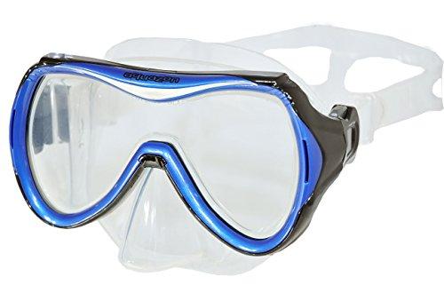 AQUAZON Maui Junior Medium Schnorchelbrille, Taucherbrille, Schwimmbrille, Tauchmaske für Kinder, Jugendliche von 7-14 Jahren, Tempered Glas, sehr robust, tolle Paßform, Colour:blau