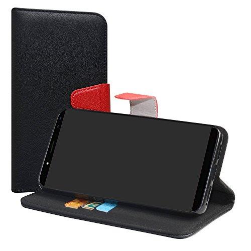 LiuShan Ulefone Power 3S Hülle, Brieftasche Handyhülle Schutzhülle PU Leder mit Kartenfächer und Standfunktion für Ulefone Power 3S (6 Zoll) Smartphone (mit 4in1 Geschenk verpackt),Schwarz