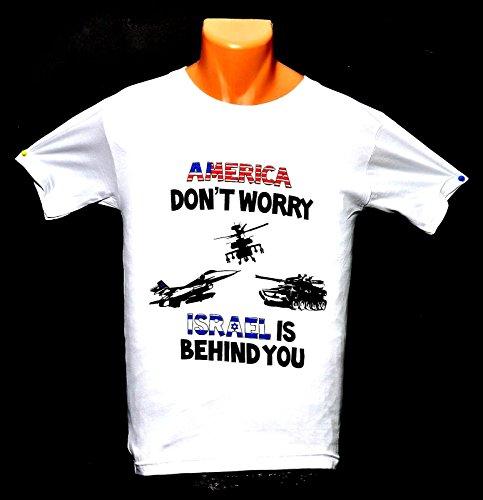 Hohe Qualität T-shirt (springnahal America Dont Worry Israel ist hinter Sie T-Shirts Hohe Qualität 100% Baumwolle (S) (M) (L) (XL) (XXL))