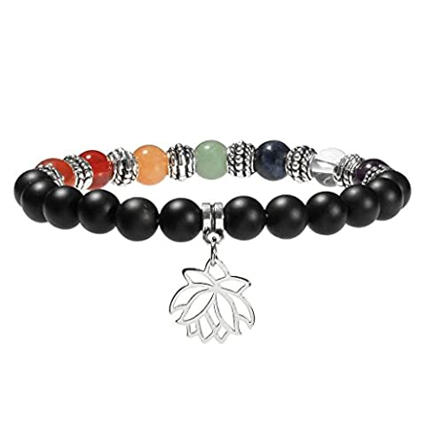 JSDDE 7 Chakra Healing Crystal Gemstone Ball Beads Lotus Flower Matte Black Agate Natural Stone Stretch Bracelet(8mm