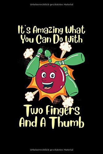 Bowling Notizbuch 2 Finger und ein Daumen: Punkteraster Notizbuch Dot Grid 120 Seiten Din A5 perfekt als Bullet Journal, Ideenbuch und zum zeichnen Bowling Geschenk