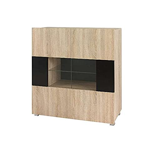 JUSThome Gordia GR V Chest of Drawers Sideboard Cabinet Sonoma Black (HxWxD): 107x100x35 cm