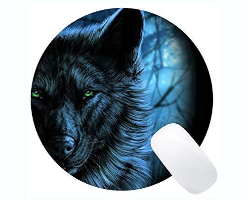 Runde Mauspad, Grüne Augen Tiermond Wolf Kunst schwarz Mauspads für Computer Laptop 230 x 230 mm x 3 mm