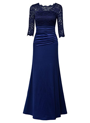 Miusol Damen Elegant Abendkleid Rundhals Dunkelblaue Spitzen Brautjungfer Cocktailkleid Vintage Cocktailkleid Langes Kleid Dunkelblau Gr.L - 2