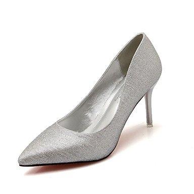 Moda Donna Sandali Sexy donna tacchi Primavera / Estate / Autunno / Comfort Casual Stiletto Heel Sequin / punta metallico nero / rosso / Argento / oro Silver