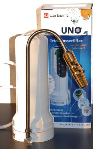 Carbonit SanUno - Auftischwasserfilter - Übertischfilter - mit Aquadea Wirbler Harmony3 GOLD Crystal und Carbonblock-Hohlfaser-Membran Filter mit 0,15 micrometer Porenfeinheit für keimfreies lebendiges Wasser (BERGKRISTALL-GOLD) -