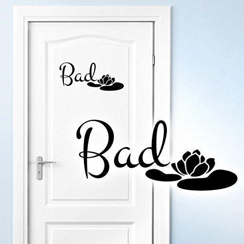 Grandora Wandtattoo Bad + Seerose I braun (BxH) 25 x 11 cm I Badezimmer Wandaufkleber Bäder Wandsticker Toilette Türaufkleber WC Aufkleber Klo Sticker W5389