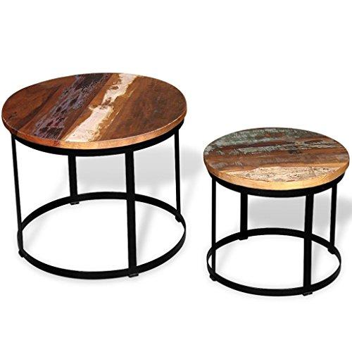 Zwei Stück Couchtisch-Set massiv wieder Holz rund 40cm/50cm (Glas-wohnzimmer-akzent-tabelle)