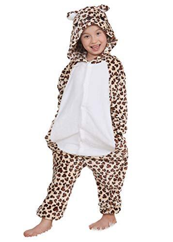DATO Kinder Pyjamas Tier Leopard Bär Overall Flanell Cosplay Kostüm Kigurumi Jumpsuit für Mädchen und Jungen Hohe 90-148 cm (Leopard Jumpsuit Kostüm)