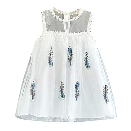 squarex Sommerkleinkind-Baby-ärmellose Feder-Stickerei Tulle Prinzessin Dress Clothes der Kinder Nette und Bequeme Freizeitkleidung (Nettes Mädchen Kostüm-ideen)