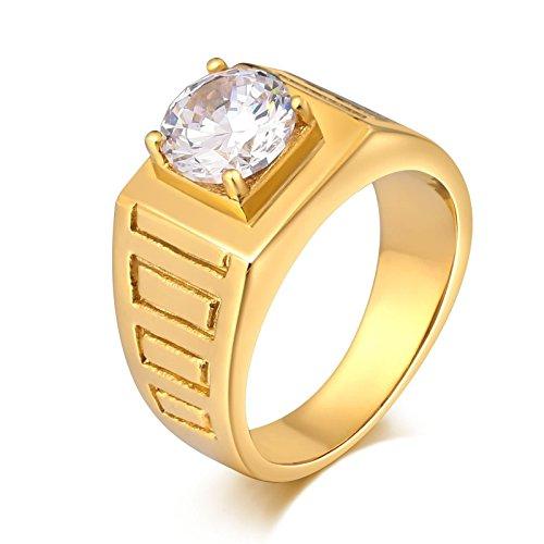 Daesar Retro Edelstahl Ringe für Herren mit Zirkonia Hochglanzpoliert Rund Breite 10 MM Retro Ring Gold Partnerring Größe 60 (19.1)