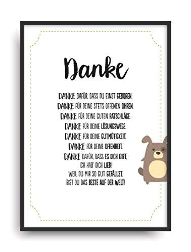 Geschenk Karte DANKSAGUNG Kunstdruck Ehrentitel beste Mama Oma Freundin Auszeichnung Bild ohne Rahmen DIN A4