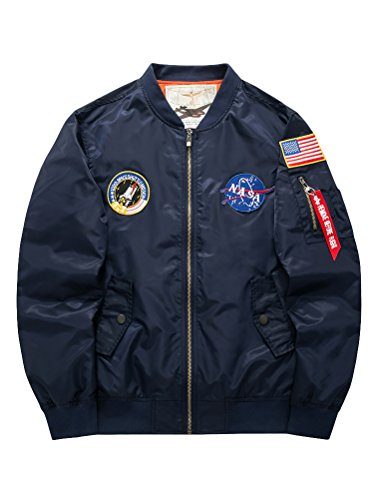 MatchLife Hommes Design NASA, Armee Americaine Et Air Force One Jacket Pilotes Sports Loisirs Col V Collier Style Bomber Baseball Manteau Retro S-XL Style1-Bleu