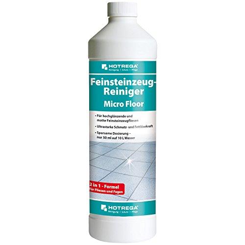 HOTREGA Feinsteinzeug Reiniger Micro Floor intensive Reinigung und Pflege für Feinsteinzeugfliesen 1 L (Feinsteinzeug-reiniger)
