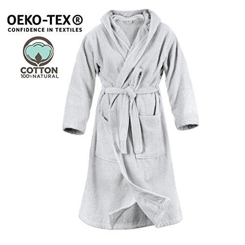 Twinzen accappatoio con cappuccio in spugna, per donna (xl, grigio stagno), 2 tasche, cintura certificato oeko tex - vestaglia - per uscire dalla doccia, assorbente e confortevole