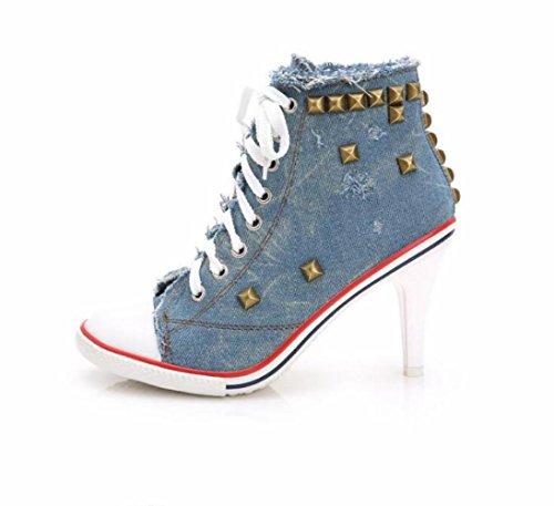 JQNSX Damen Sneaker High-Heels Fashion Canvas Schuhe High Pump Lace Up Wedges Schuhe,Blue-34