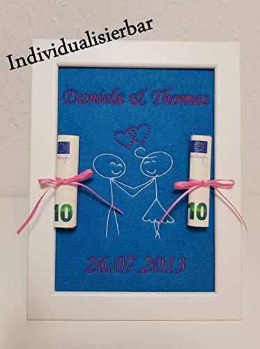 Geldgeschenk Hochzeit - Bestickung individuell gestalten - inkl. Bilderrahmen