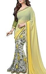 Vivera Women Georgette Saree (VRAYESHA_YELLOW_Yellow_Yellow_Free Size)