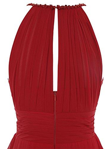 Bbonlinedress Robe de cérémonie et de demoiselle dhonneur plissée emperlée bretelles spaghetti longueur ras du sol en mousseline Jaune