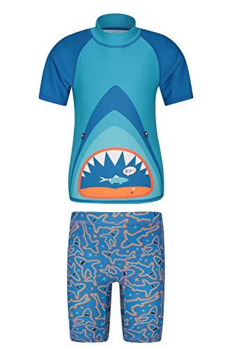 Mountain Warehouse Bedrucktes Kinder Bade-Set, UV-Schutz Shorts & Badeshirt, dehnbar, Rash Guard für Mädchen und Jungen - ideale Sommer Kleidung zum Schwimmen & Tauchen Blaugrün 128 (7-8 Jahre)