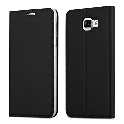 Preisvergleich Produktbild Cadorabo Hülle für Samsung Galaxy A3 2016 (6) - Hülle in SCHWARZ - Handyhülle mit Standfunktion und Kartenfach im Metallic Look - Case Cover Schutzhülle Etui Tasche Book Klapp Style