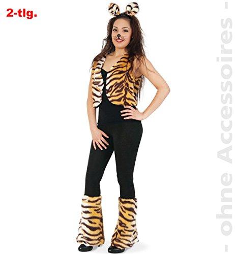 FRIES Damen Kostüm Tiger Weste Stulpen Karneval Fasching ()