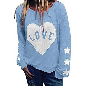 DQANIU Damen Bluse, Plus Size Damen Brief Druck Liebe Slogan T Shirt Frühling Wild Langarm Pullover Tops Herbst Inner…