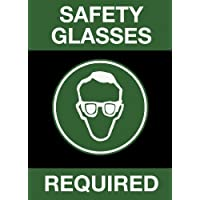 """NoTrax 194 Safety Message Floor Mat with Vinyl Backing, """"Safety Glasses Required"""", 3' Width x 5' Length x 3/8"""" Thickness, Black by NoTrax"""