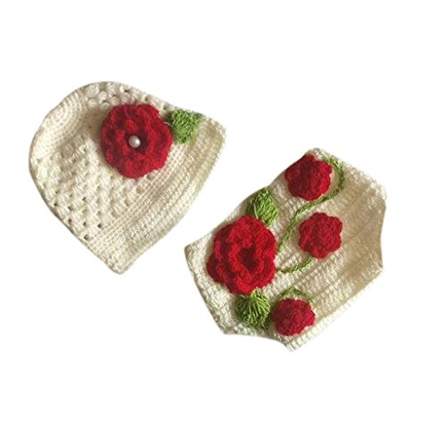 The Original Knit Flower Photo Prop With Diaper Cover & Cap Set - Off White