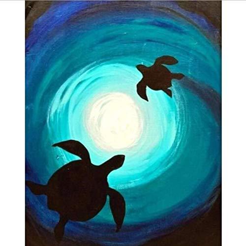 Guter Und Ehefrau Kostüm Ehemann - CBUSYS Digitale Malen Nach Zahlen Paket Windung Schildkröte Ölgemälde Wandbild Kits Färbung Wandkunst Bild Geschenk Rahmenlose