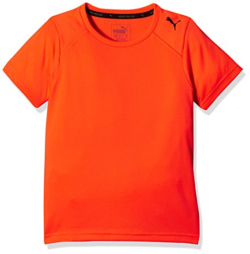 PUMA Kinder Active Ess Tee T-Shirt, Shocking Orange, 128 (Logo Ess Tee)