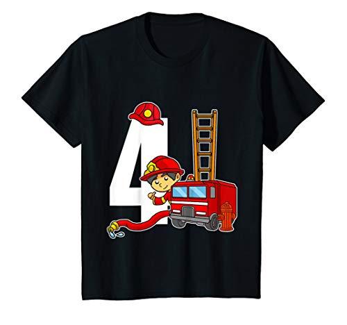 Kostüm Kind Hydranten - Kinder 4 Jahre Alt Feuerwehrmann Geburtstags Shirt Feuerwehrauto T-Shirt