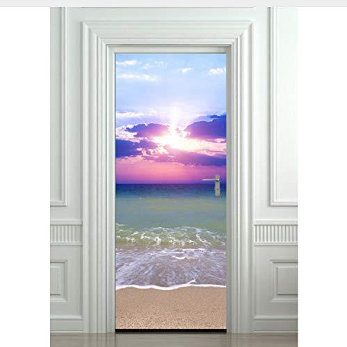 On Beach 3D Wandkunst Bild Wandaufkleber Tür Aufkleber Tapete Decals Dekoration 77X200 cm ()