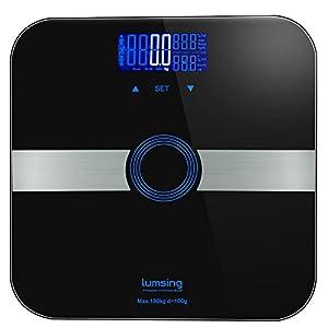 Lumsing Körperfettwaage 180KG Smart Personenwaage Digital Körper Gewicht Waage