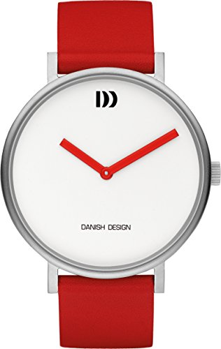 Danish Design Women's Quartz Watch with White Dial Analogue Display and Red Leather Strap DZ120403