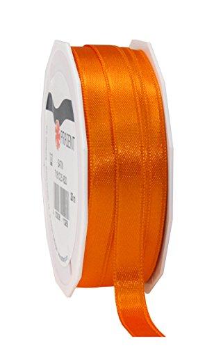 Prasent 10 mm, 25 m, Doppelseitiges Satin-Band, Rolle, Orange -
