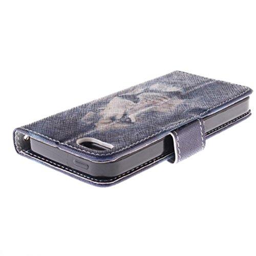 KATUMO® iPhone 5 Schutzhülle,PU Leder Flip Cover Case Folie Bookstyle Ledertasche für Apple iPhone 5/5S Handyhülle Tasche Etui Schalen mit Kartenfächern und Standfunktion,Herr Giraffe Löwe