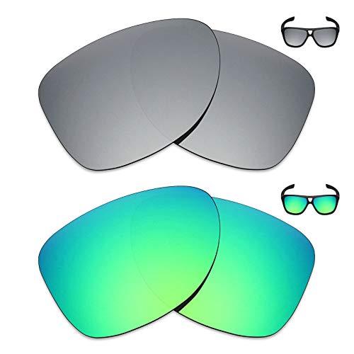MRY 2Paar Polarisierte Ersatz Linsen für Oakley Dispatch 2Sonnenbrille-Reichhaltige Option Farben, Silver Titanium & Emerald Green