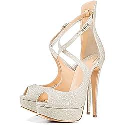 uBeauty Damen Pumps mit Plateau Stilettos Open Toe Lady High Heels Übergröße Schuhe Silber 45 EU