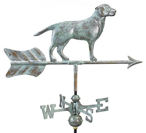 good Richtungen Labrador Retriever/Hund Garten Wetterfahne, inkl. Garden Pole, Verde blau kupfer, patina