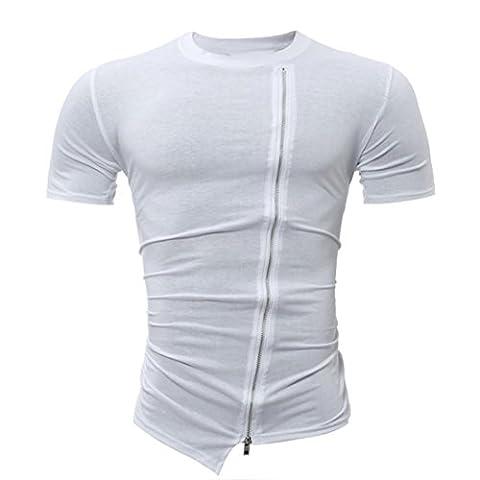 Malloom Summer Solid O-Neck Kurzarm T-Shirt Mit Reißverschluss (XXL, Weiß)