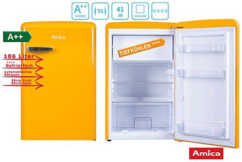 Amica Retro Kühlschrank Gelb KS 15613 Y A++ 106 Liter mit Gefrierfach Standgerät Honey Yellow